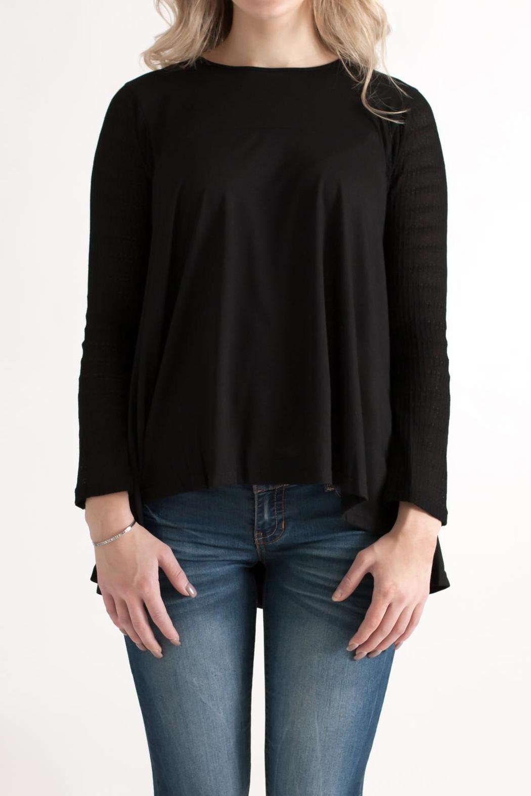 She + Sky Contrast Sleeve Top - Front Cropped Image