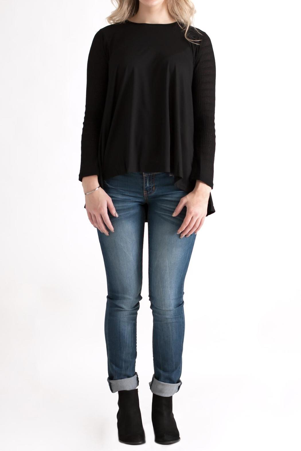 She + Sky Contrast Sleeve Top - Front Full Image