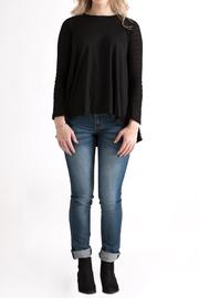 She + Sky Contrast Sleeve Top - Front full body