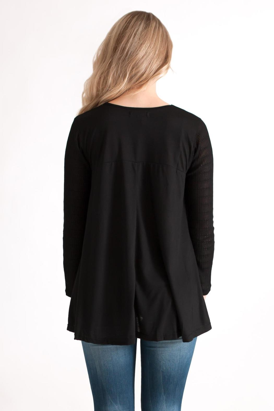 She + Sky Contrast Sleeve Top - Back Cropped Image