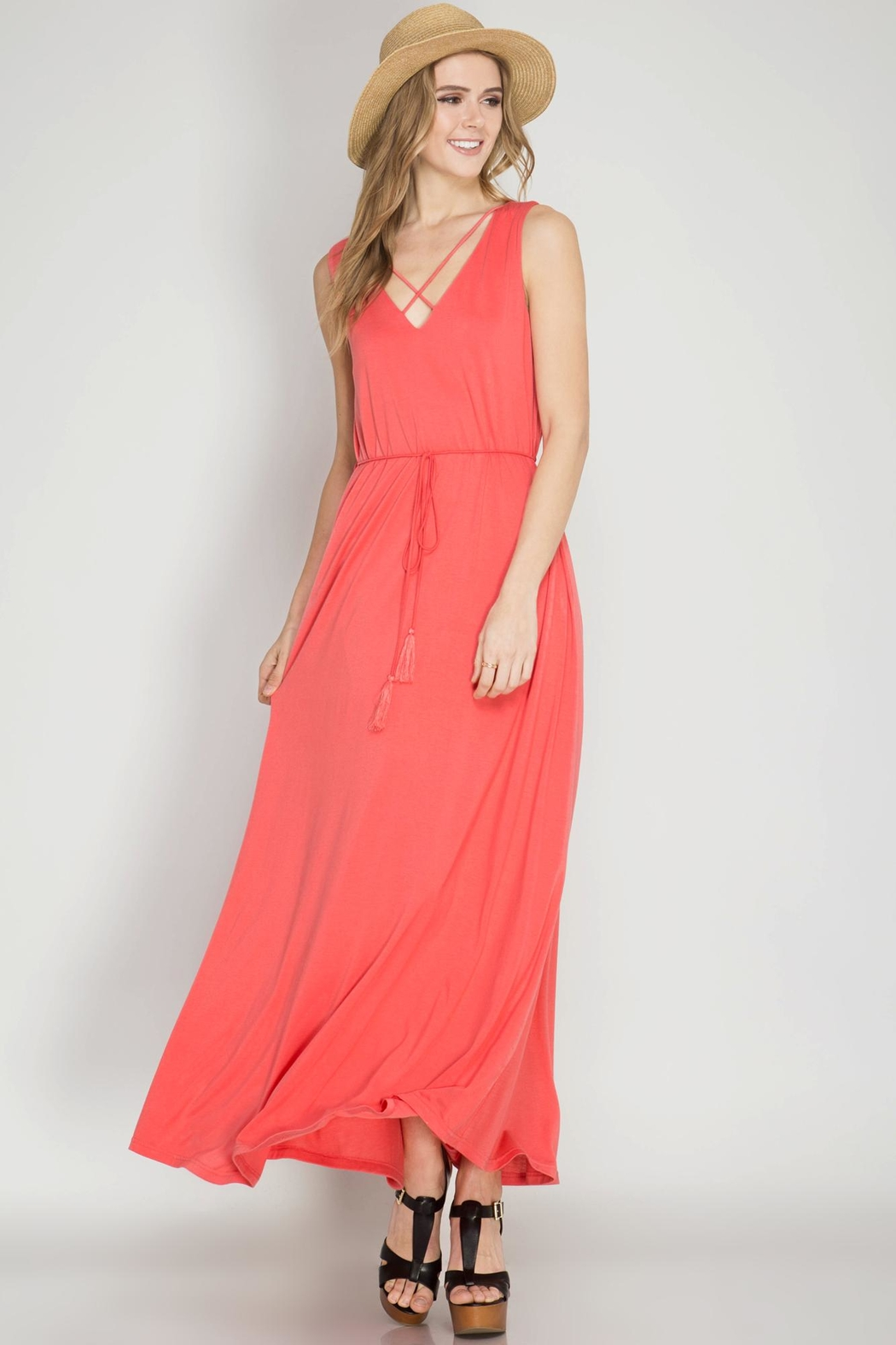 She + Sky Coral Maxi Dres - Back Cropped Image