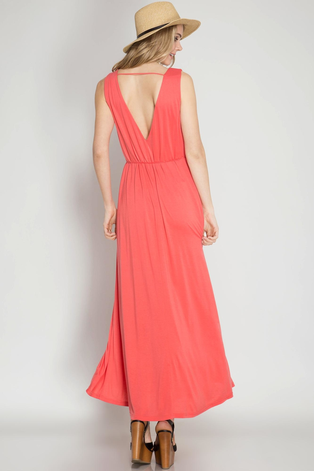 She + Sky Coral Maxi Dres - Front Full Image