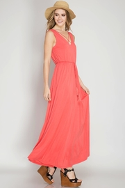 She + Sky Coral Maxi Dres - Front cropped