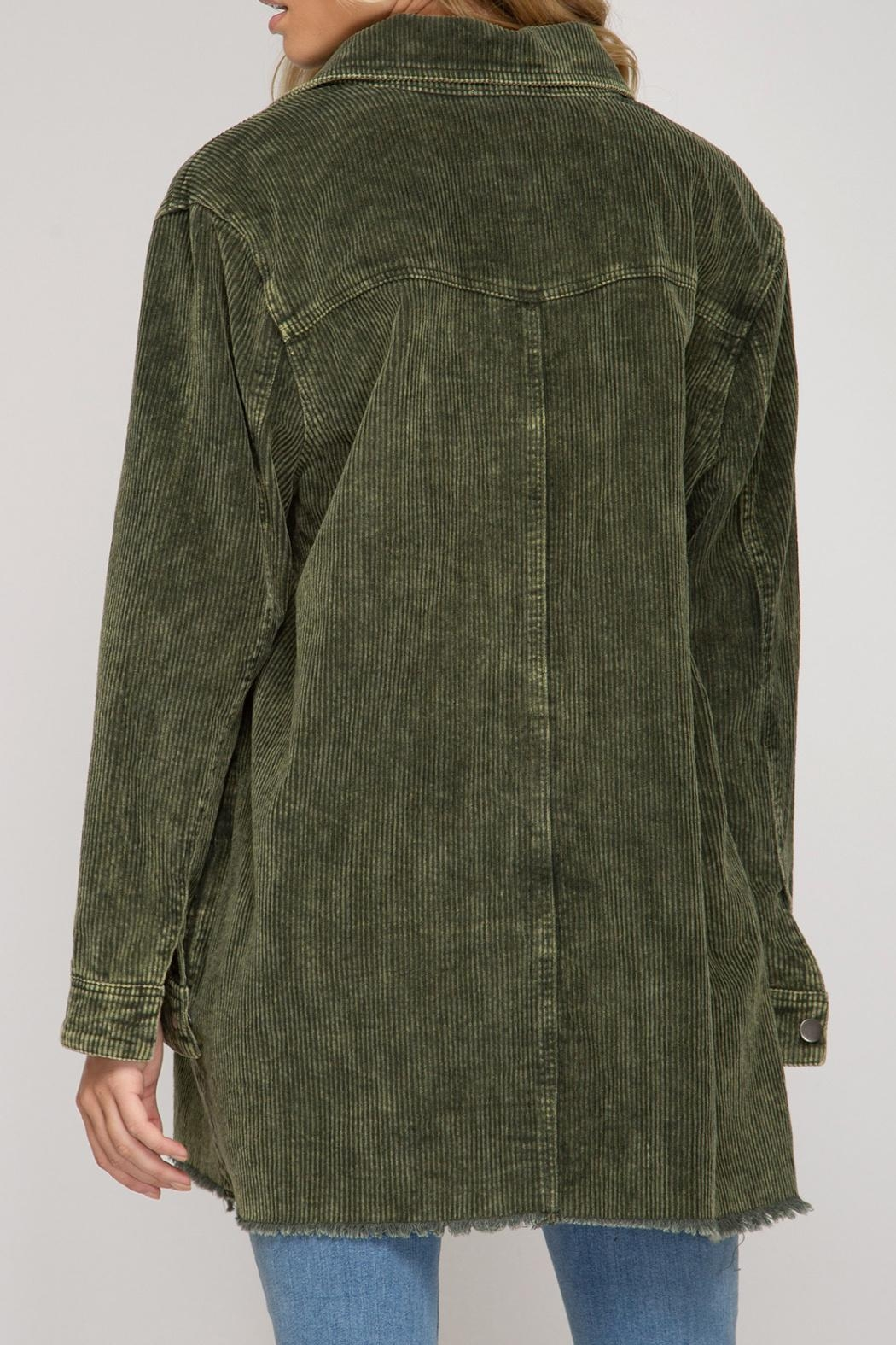 She + Sky Corduroy Button Down - Back Cropped Image