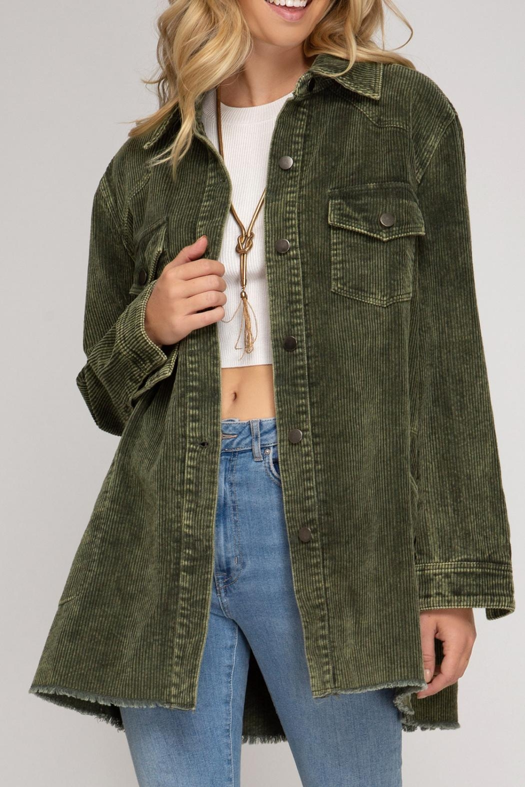 She + Sky Corduroy Button Down - Side Cropped Image