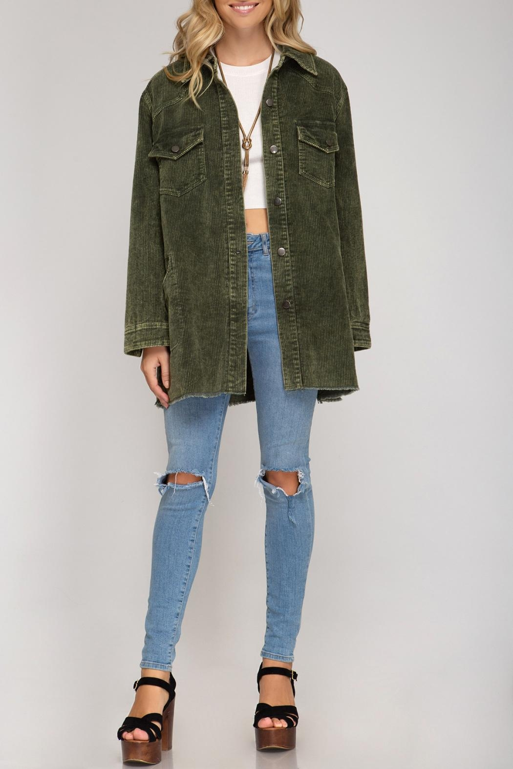 She + Sky Corduroy Button Down - Front Cropped Image