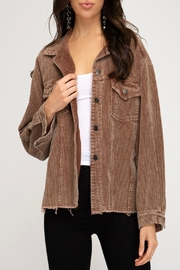 She + Sky Corduroy Button-Down Jacket - Product Mini Image