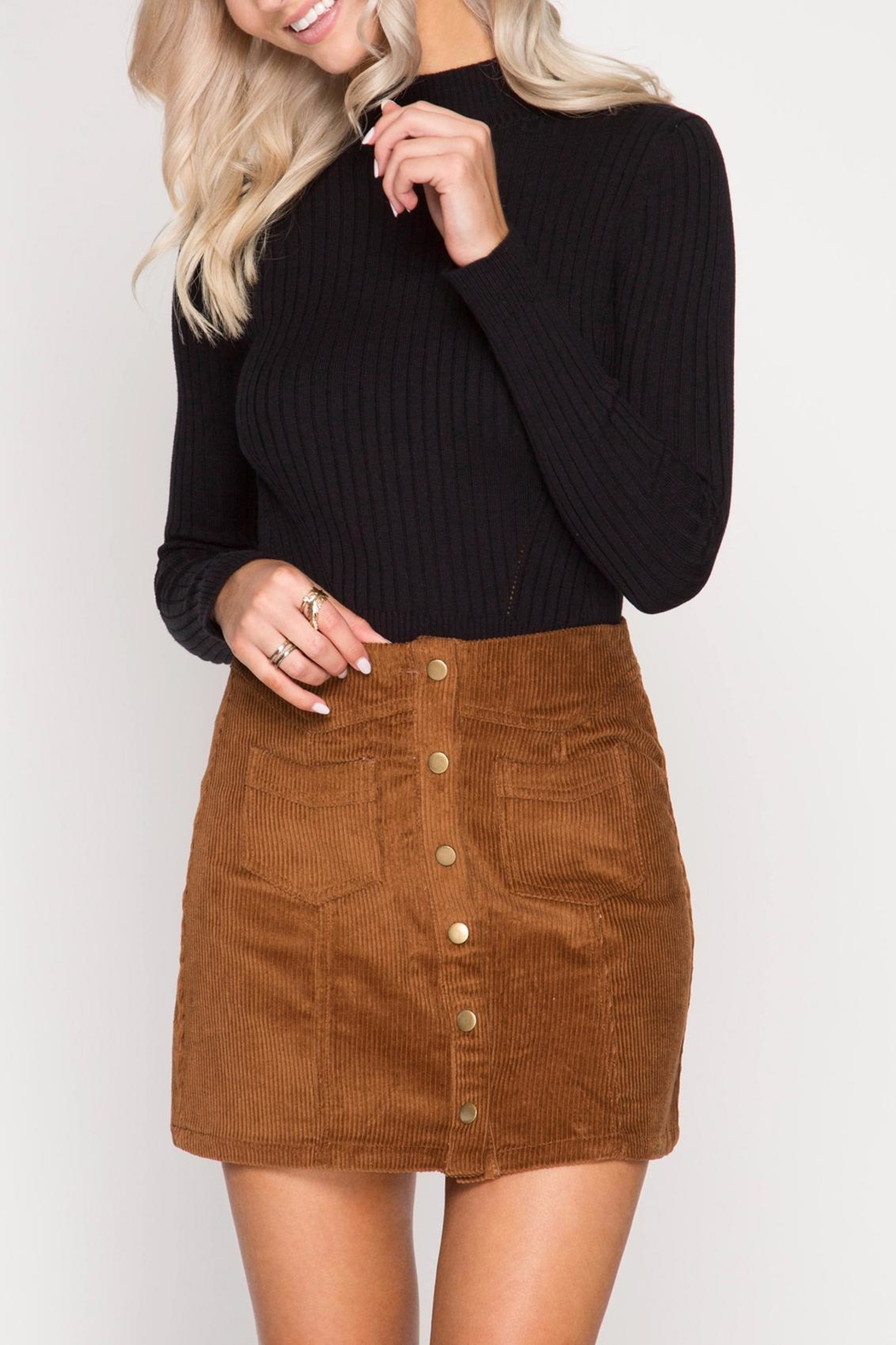 She + Sky Corduroy Mini Skirt - Front Cropped Image