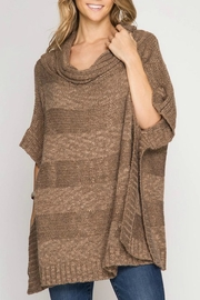 She + Sky Cowl Neck Poncho - Front cropped