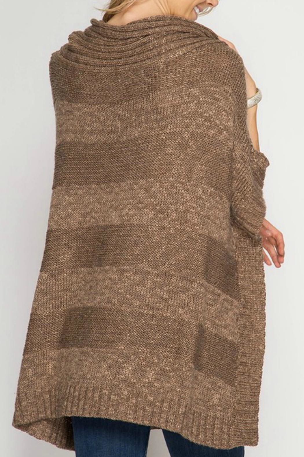 She + Sky Cowl Neck Poncho - Side Cropped Image