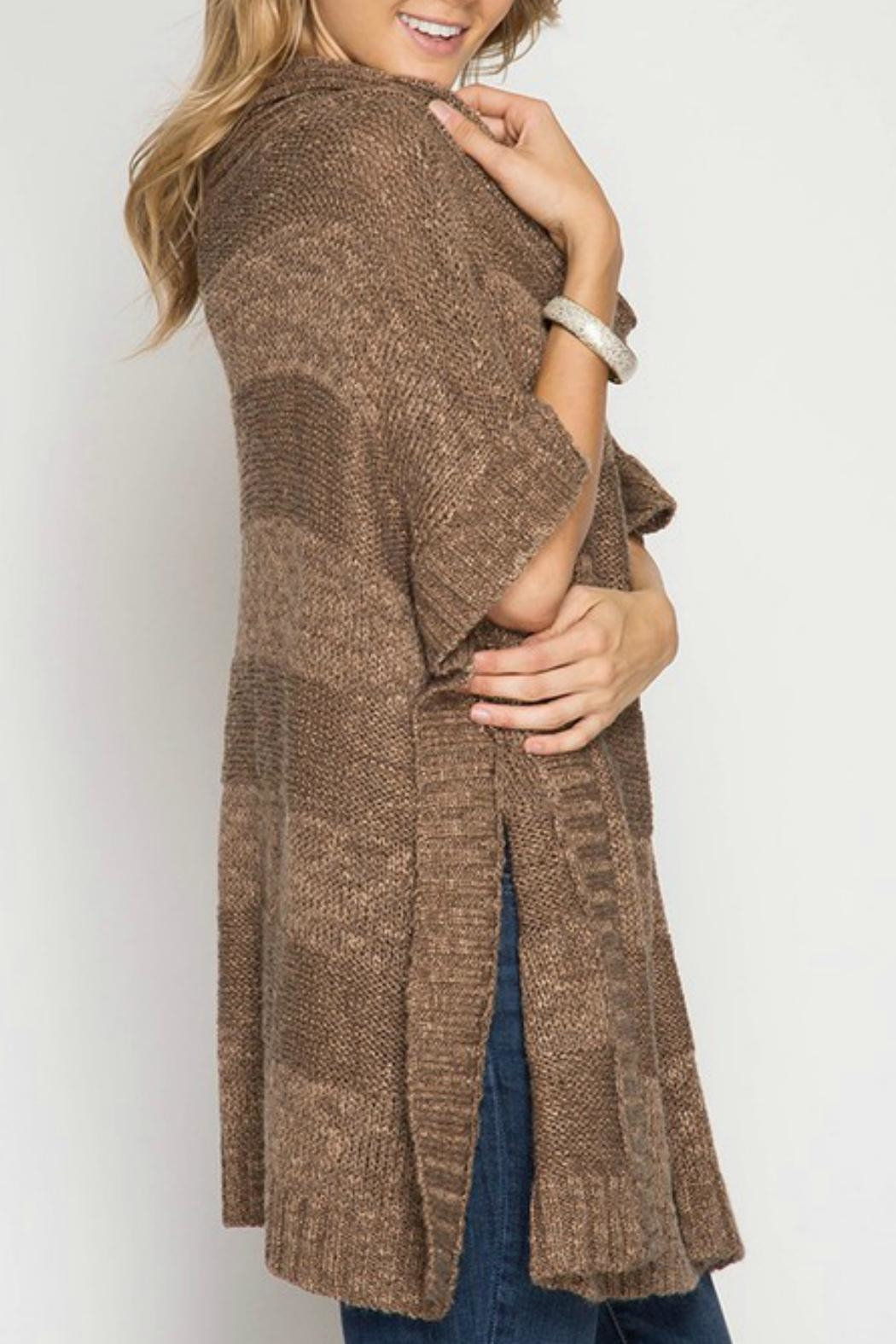 She + Sky Cowl Neck Poncho - Front Full Image