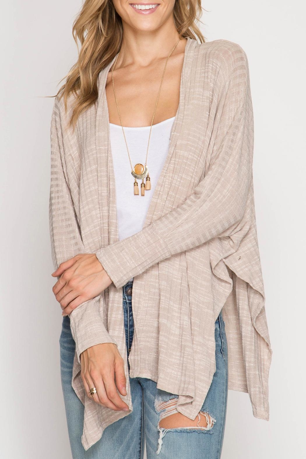 She + Sky Cozy Knit Cardigan - Front Cropped Image