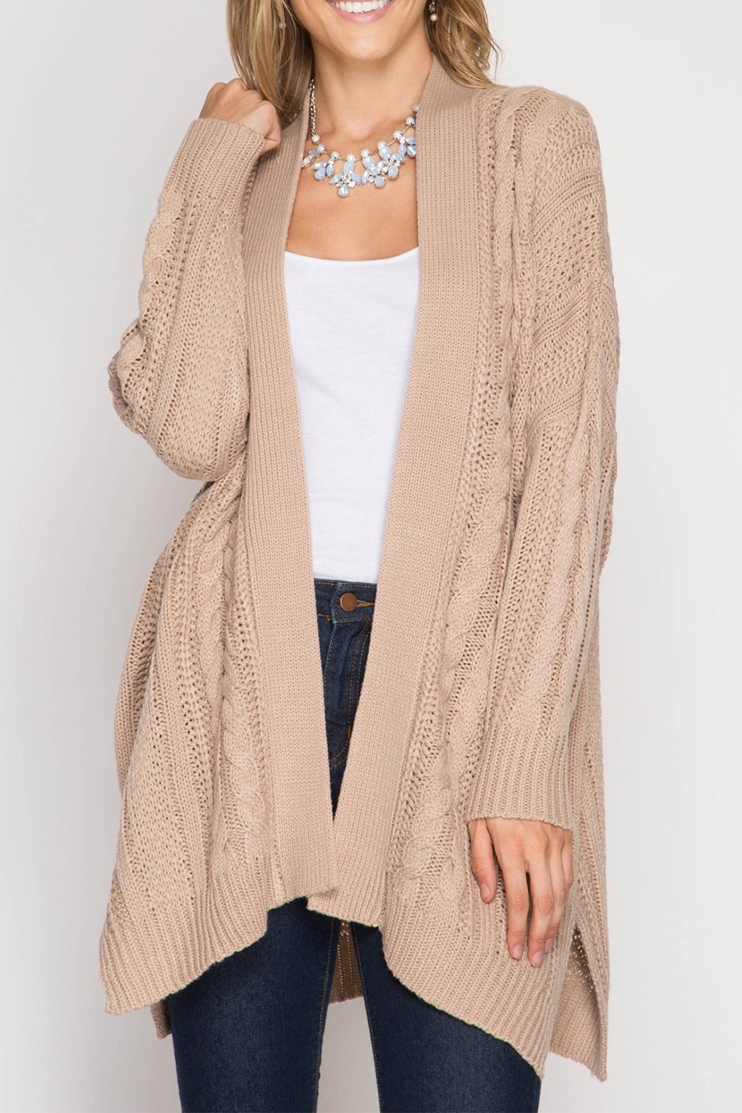 She + Sky Beige Cozy Knit Cardigan - Front Cropped Image