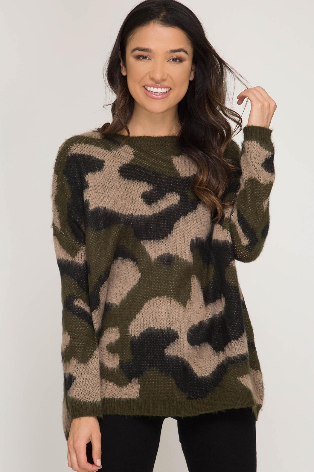 She + Sky Crazy Camo Sweater - Front Full Image