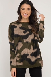 She + Sky Crazy Camo Sweater - Front full body