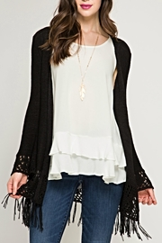 She + Sky Crochet Fringe Cardigan - Product Mini Image