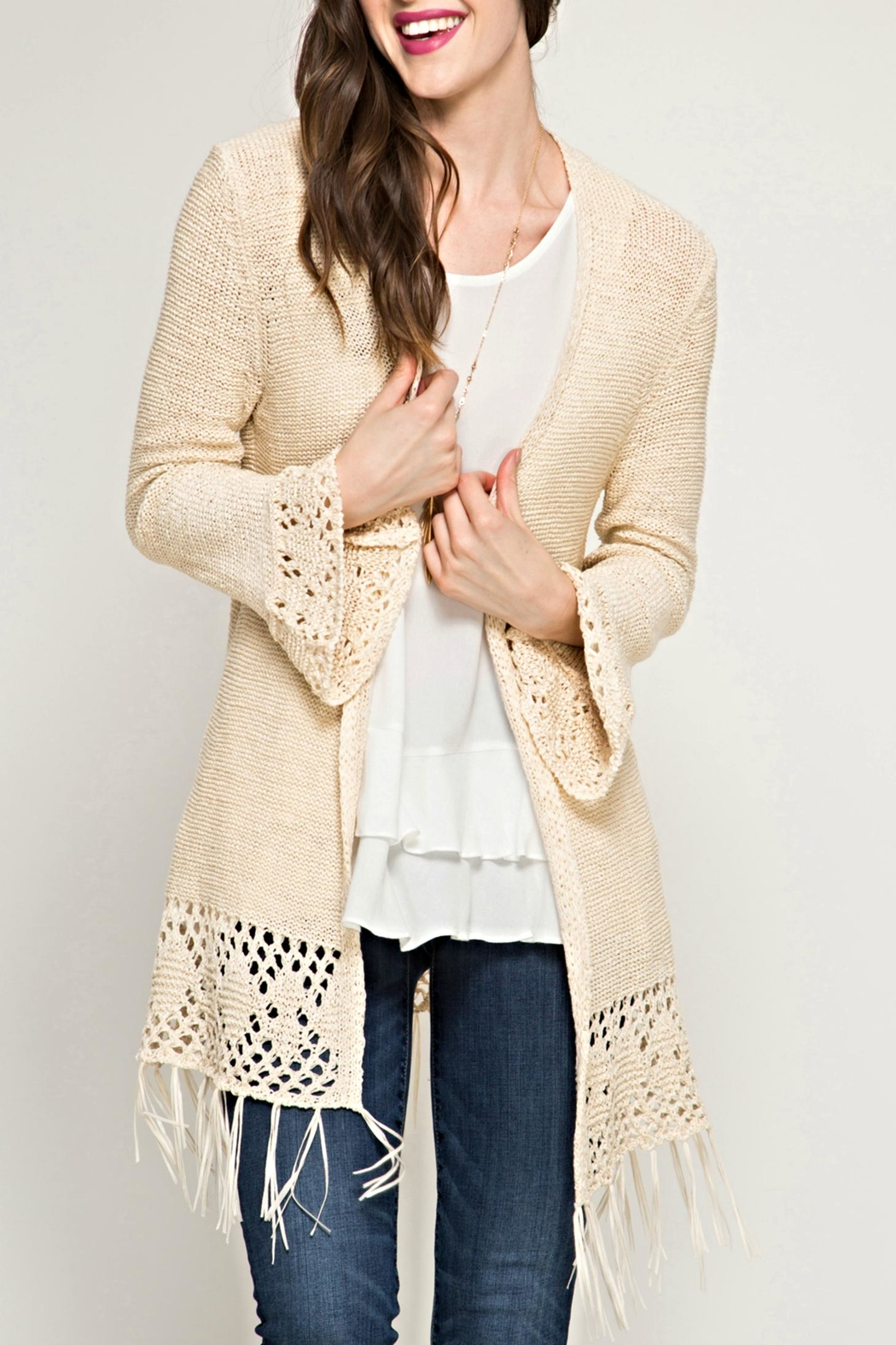 She   Sky Crochet Fringe Cardigan from Chicago by What She Wants ...