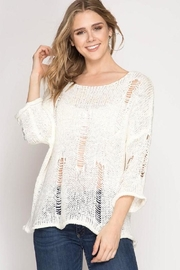 She + Sky Crochet Knit Sweater - Product Mini Image