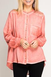 She + Sky Crochet Lace Button Down - Product Mini Image
