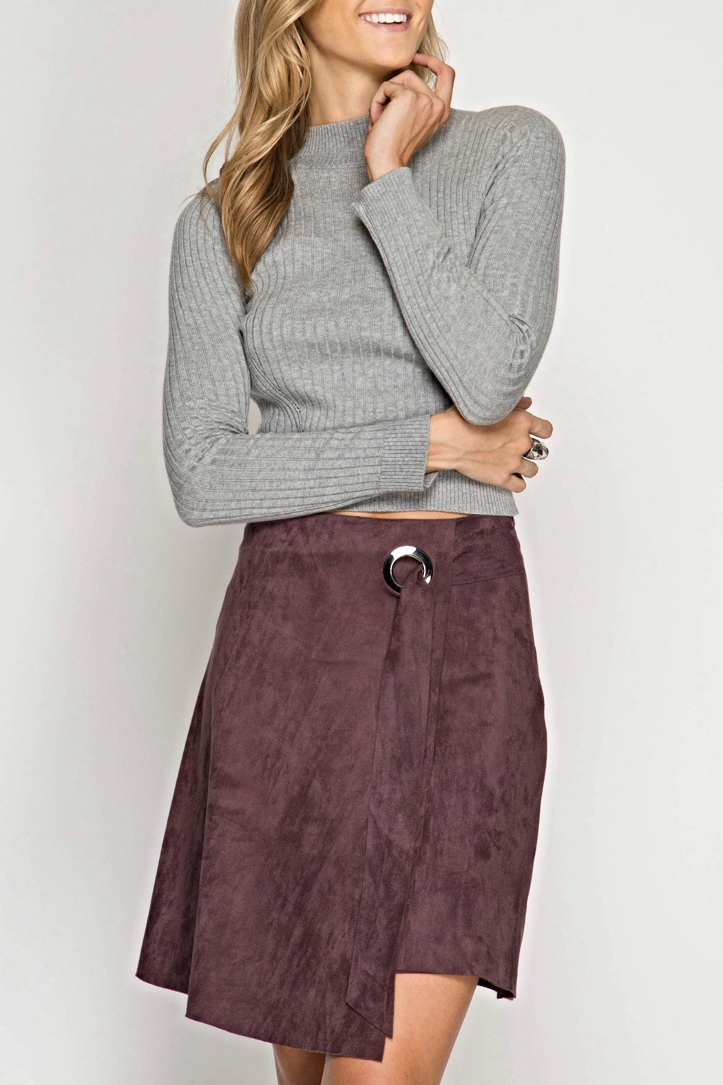 She + Sky Crooked Suede Skirt - Front Cropped Image