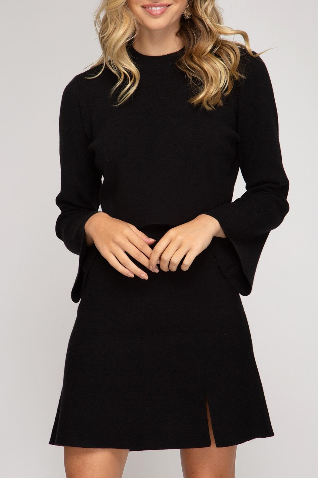 She + Sky Crop Bell-Sleeve Top - Front Full Image