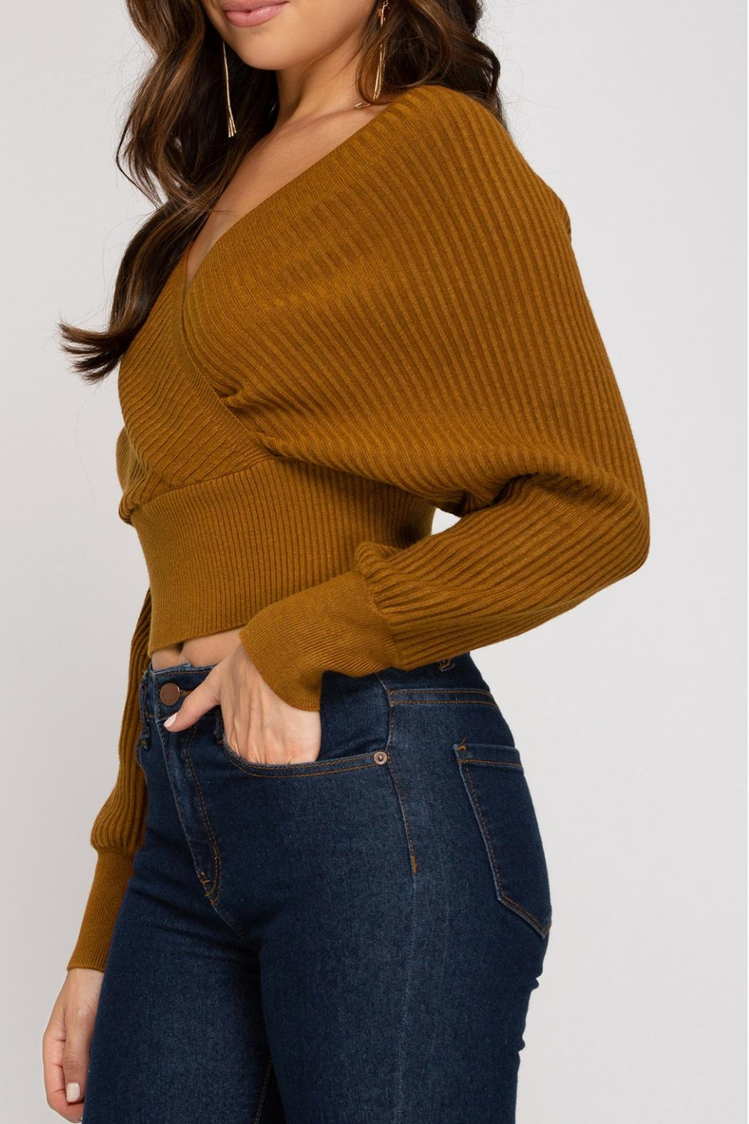 She + Sky Cropped Ribbed Sweater - Side Cropped Image