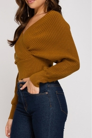 She + Sky Cropped Ribbed Sweater - Side cropped