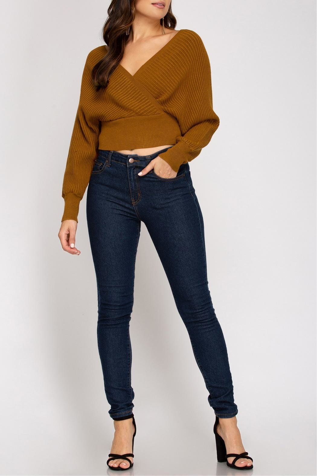 She + Sky Cropped Ribbed Sweater - Front Full Image