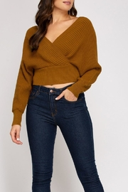 She + Sky Cropped Ribbed Sweater - Product Mini Image