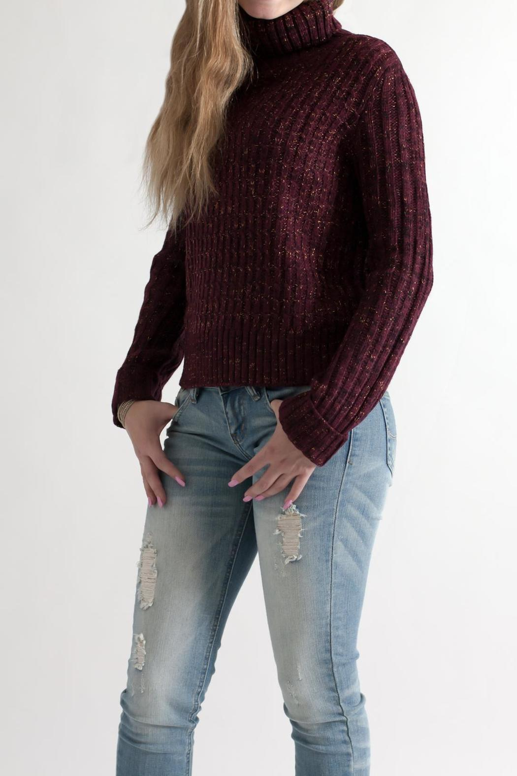 She + Sky Cropped Turtleneck Sweater - Side Cropped Image