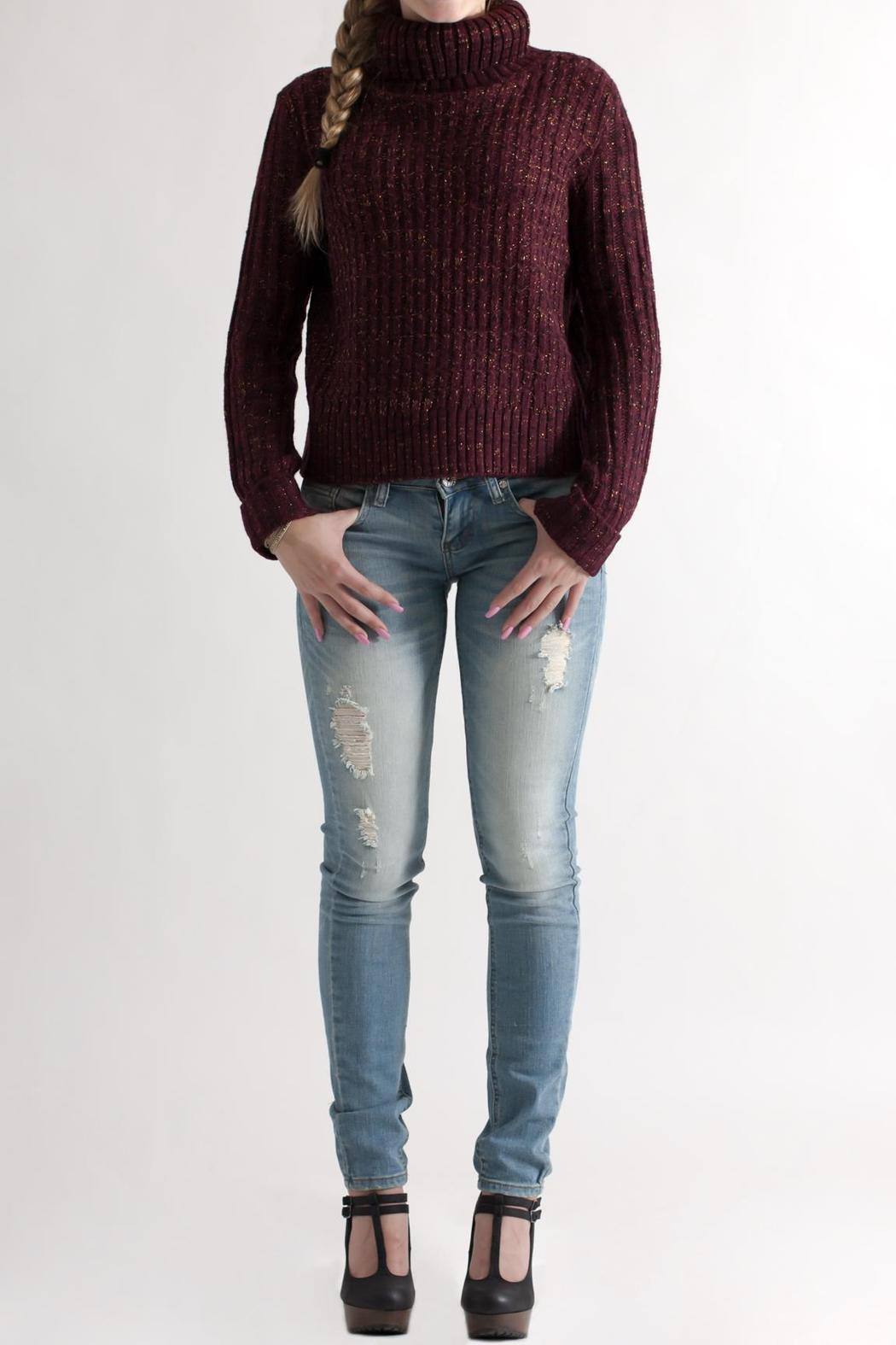 She + Sky Cropped Turtleneck Sweater - Front Full Image