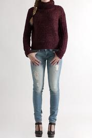 She + Sky Cropped Turtleneck Sweater - Front full body