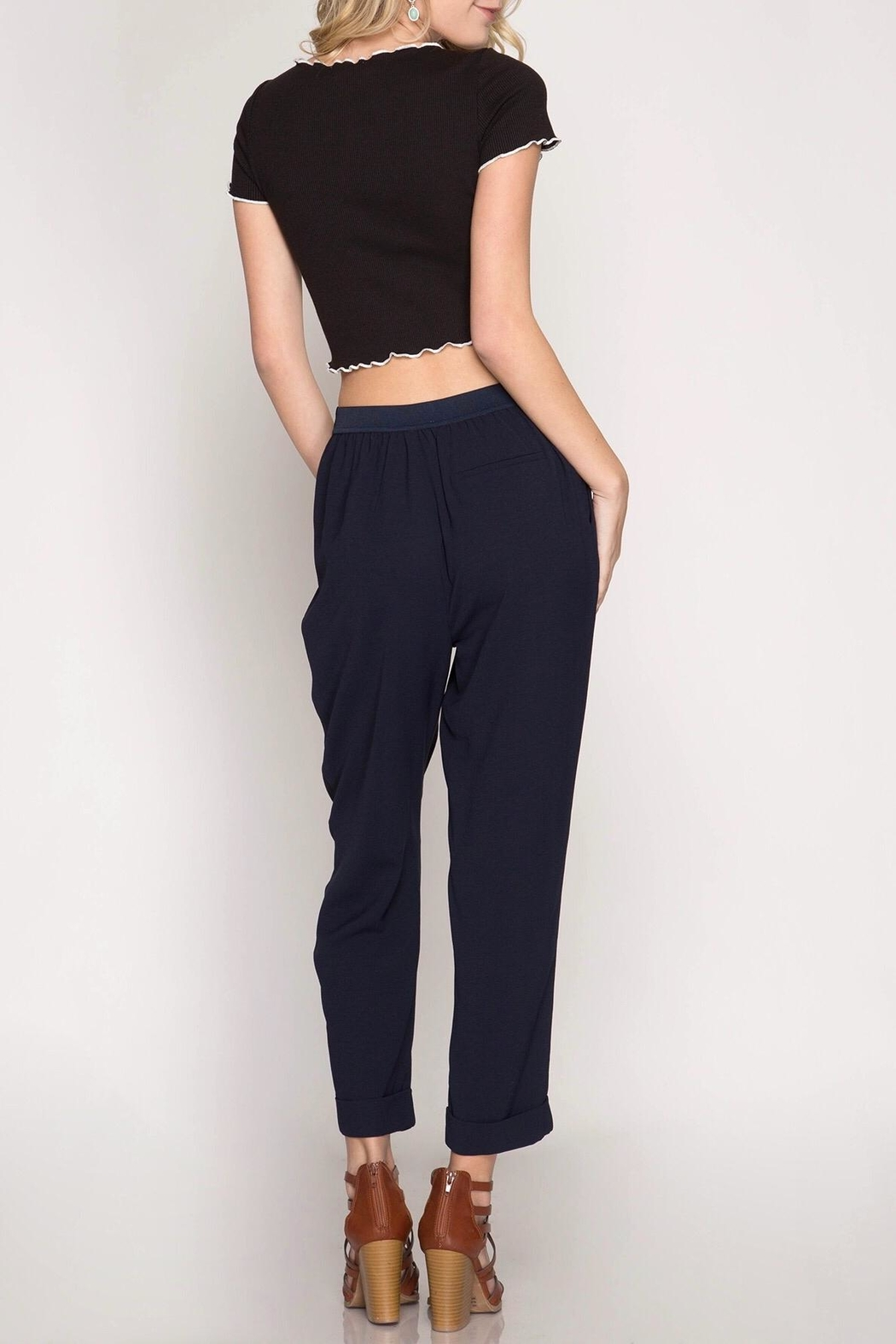 She + Sky Cropped Woven Pants - Front Full Image