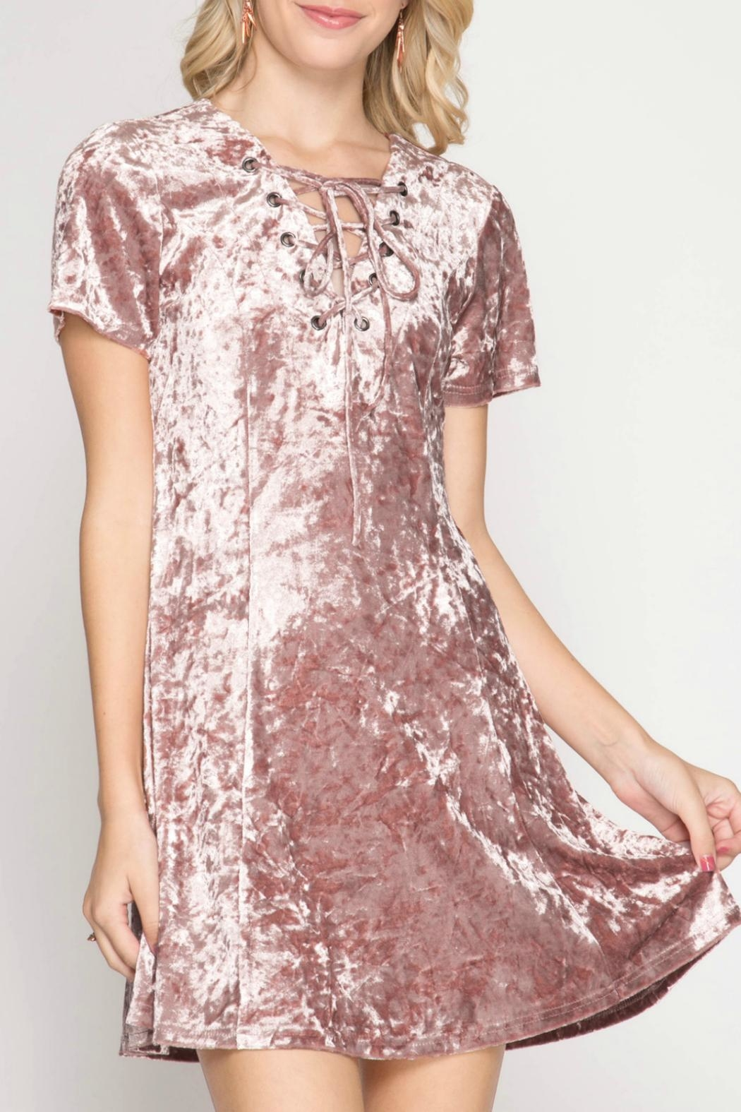 She + Sky Crushed Velvet Dress - Front Cropped Image