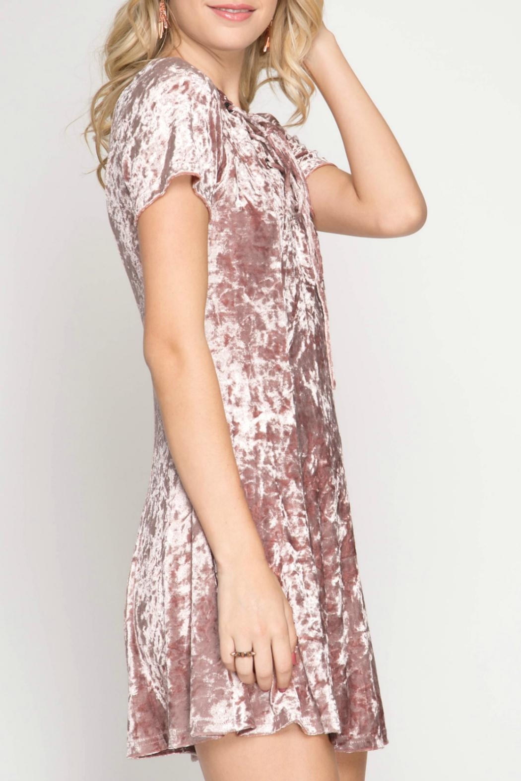 She + Sky Crushed Velvet Dress - Side Cropped Image