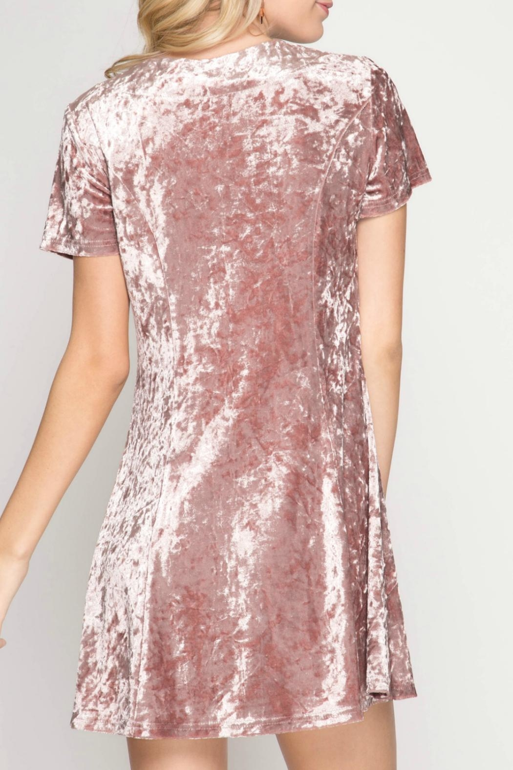 She + Sky Crushed Velvet Dress - Front Full Image