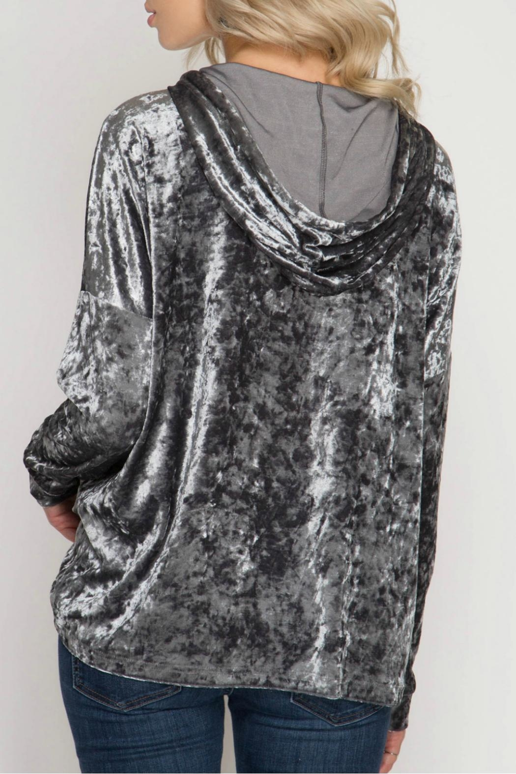 She + Sky Crushed Velvet Hoody - Front Full Image