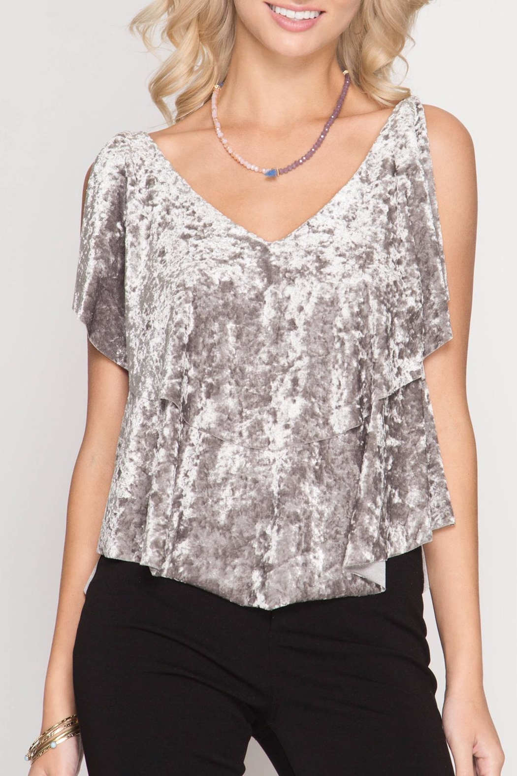 She + Sky Crushed Velvet Top - Front Cropped Image