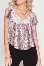 She + Sky Crushed Velvet Top - Product Mini Image