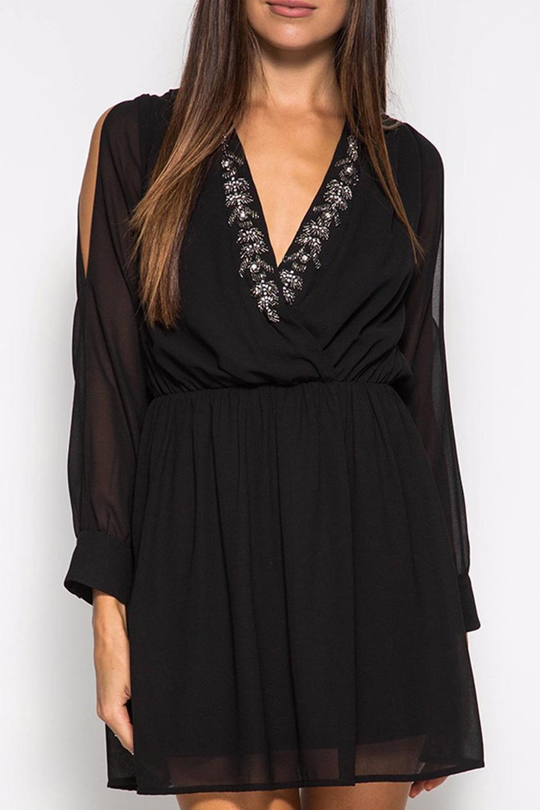 She + Sky Crystal Black Dress - Front Cropped Image