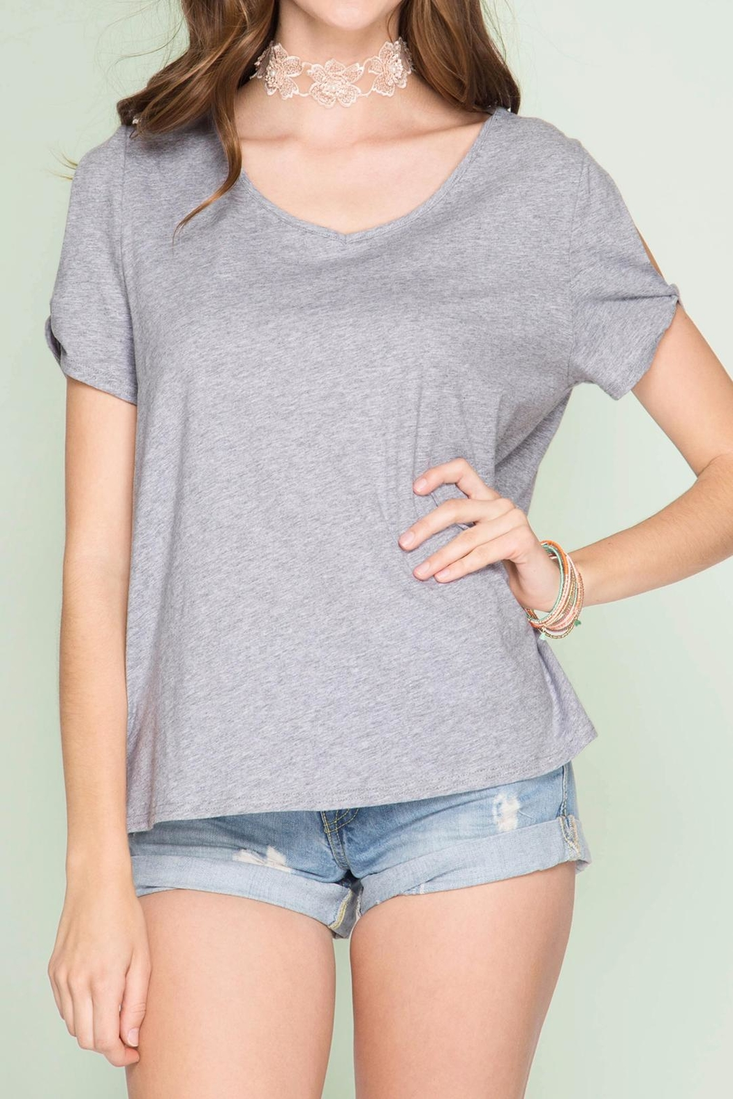 She + Sky Cut Out Slub Top - Front Cropped Image