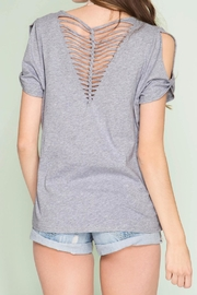 She + Sky Cut Out Slub Top - Front full body