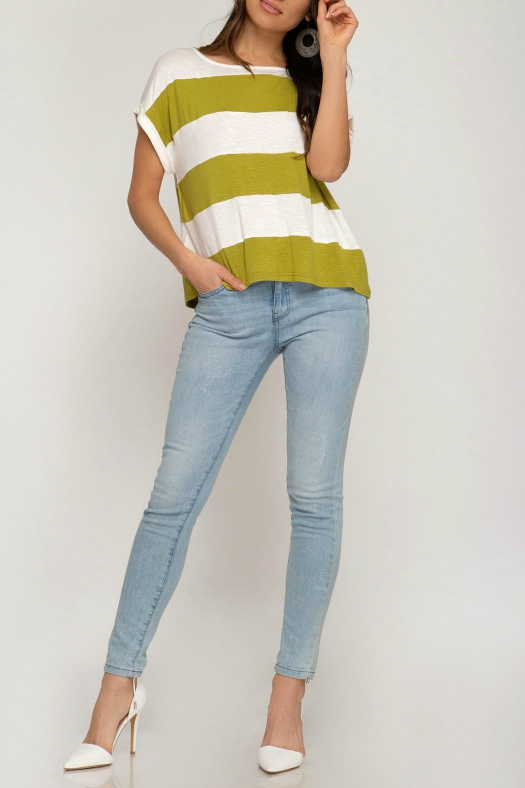 She + Sky Demi Striped Tee - Front Cropped Image
