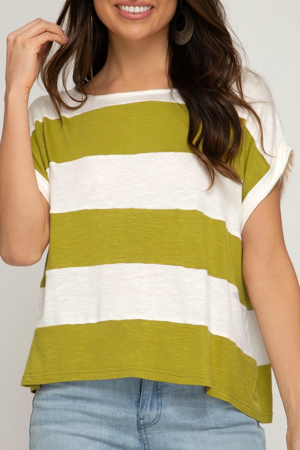 She + Sky Demi Striped Tee - Front Full Image