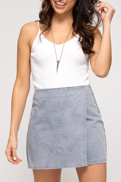 She + Sky Denim Wrap Skirt - Product List Image