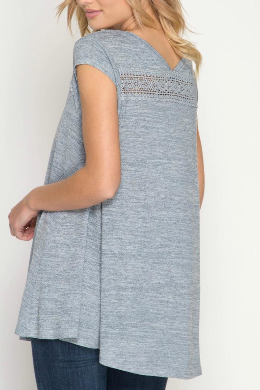 She + Sky Detailed Grey Top - Front Full Image