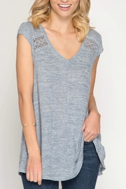 She + Sky Detailed Grey Top - Product Mini Image