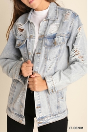 She + Sky Distressed Denim Jacket - Product Mini Image