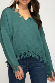 She + Sky Distressed Hem Sweater - Product Mini Image