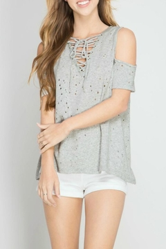 Shoptiques Product: Distressed Lace Up Top
